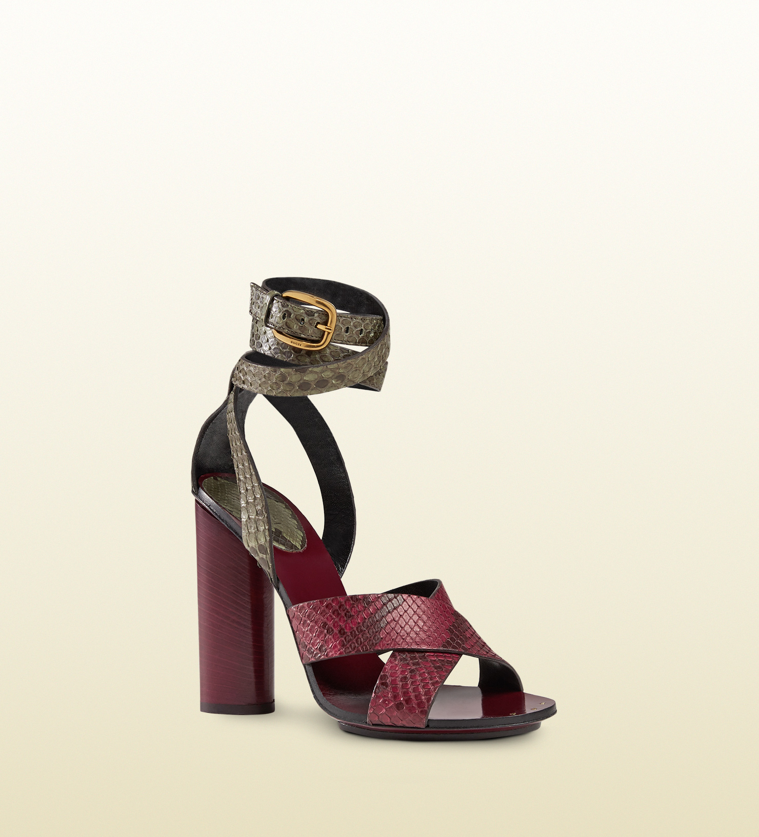 1c1132a3835d Lyst - Gucci Candy Contrast Python Sandal in Red