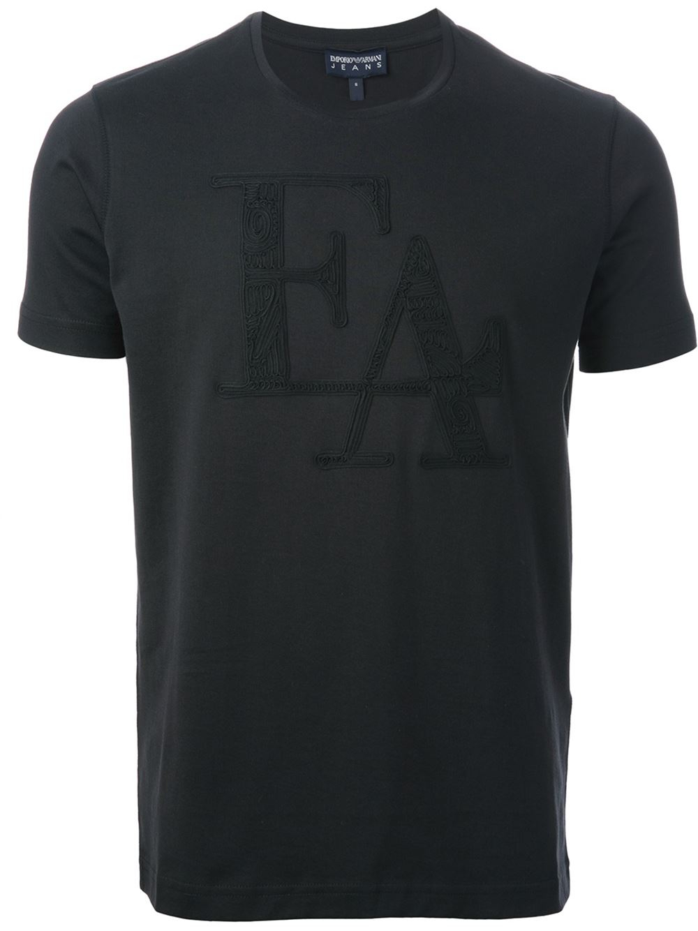 Emporio armani embroidered logo t shirt in black for men for T shirt with embroidered logo