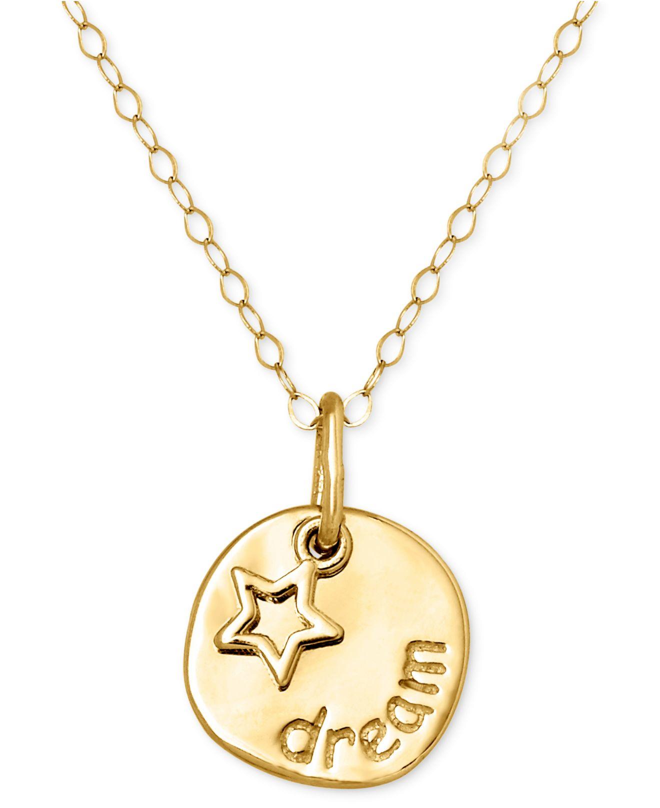 macy s 14k gold necklace disc pendant in metallic