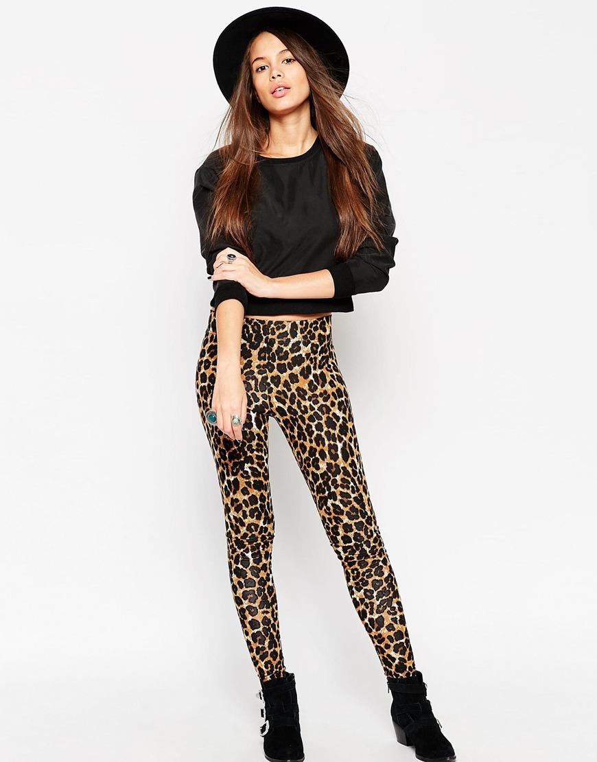 0be2c134b ASOS High Waist Leggings In Leopard Print - Lyst