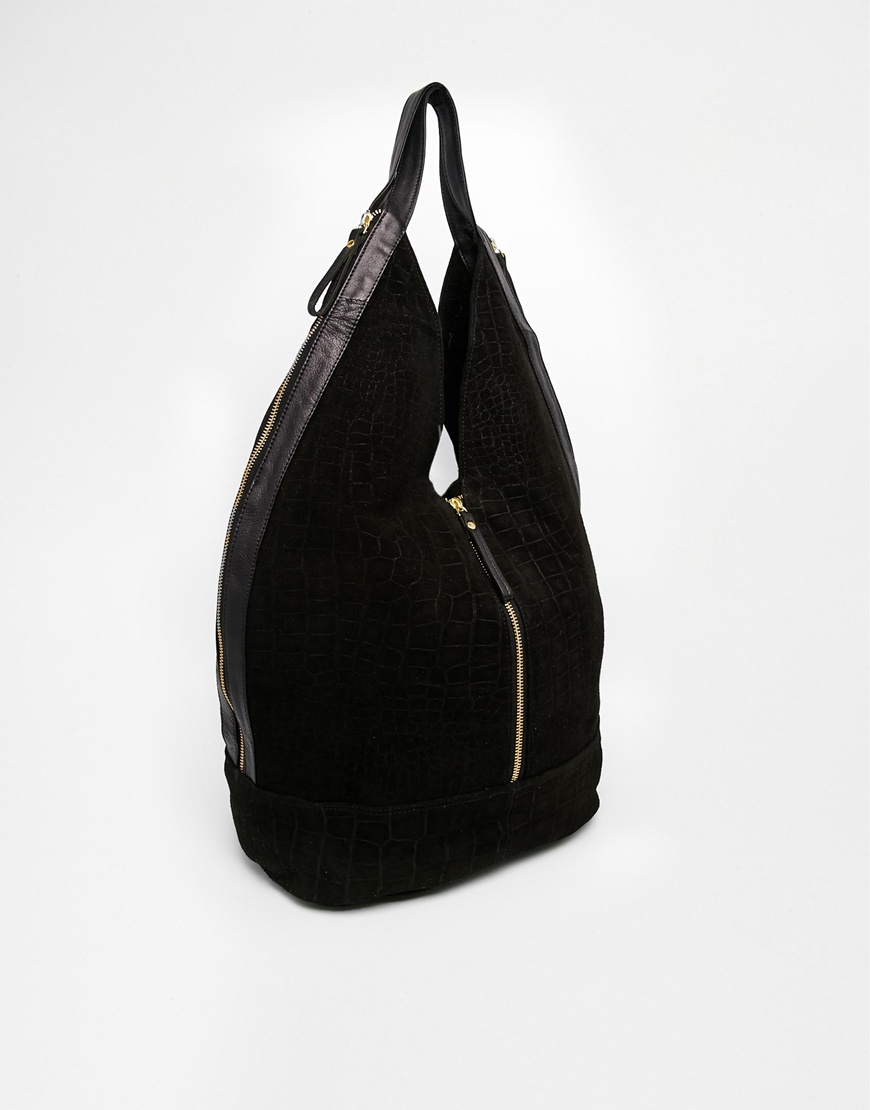 Lyst Asos Leather And Suede Slouch Hobo Bag With Center