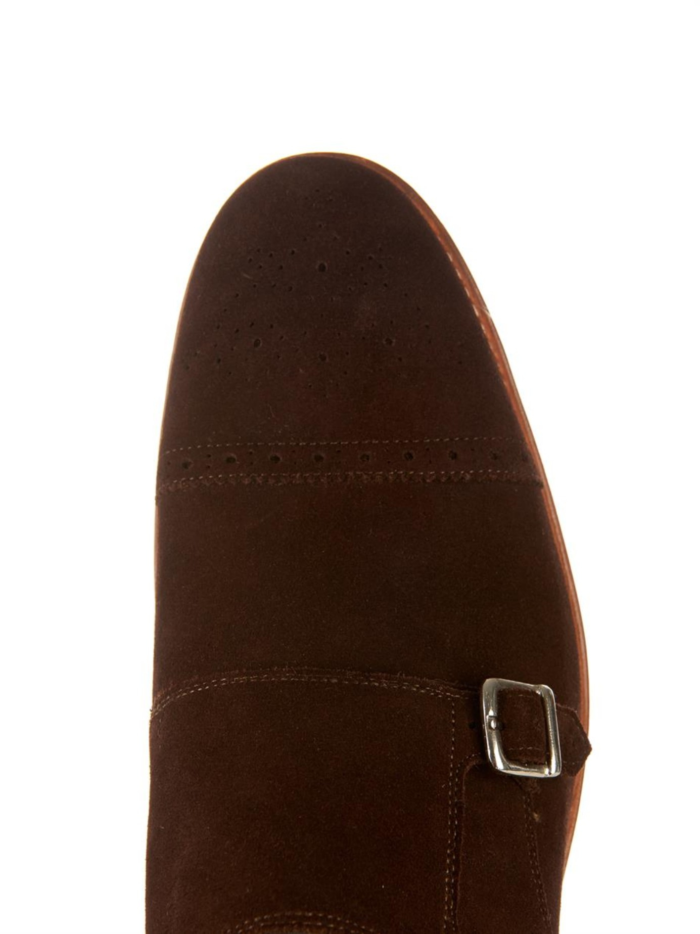 Foot The Coacher Ellery Monk-Strap Suede Shoes in Brown for Men
