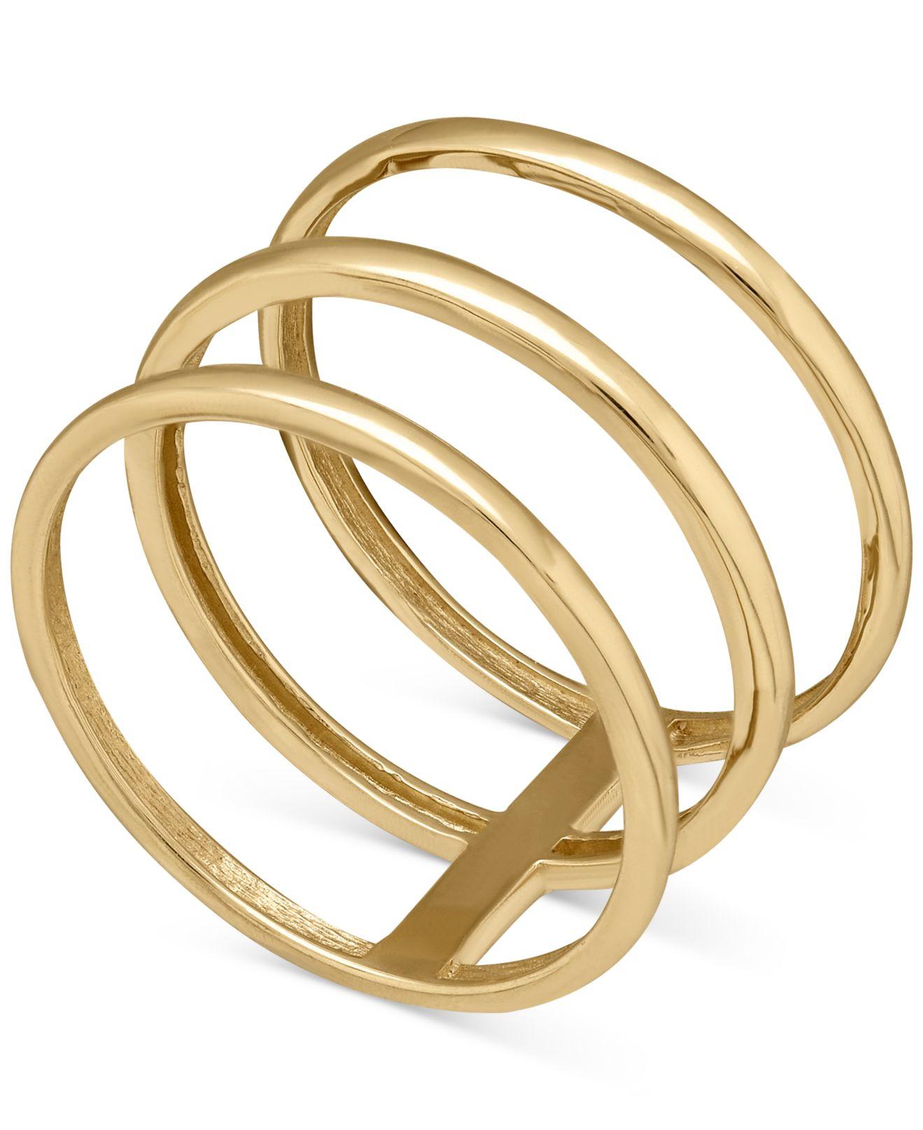 macy s bar ring in 14k gold in metallic lyst