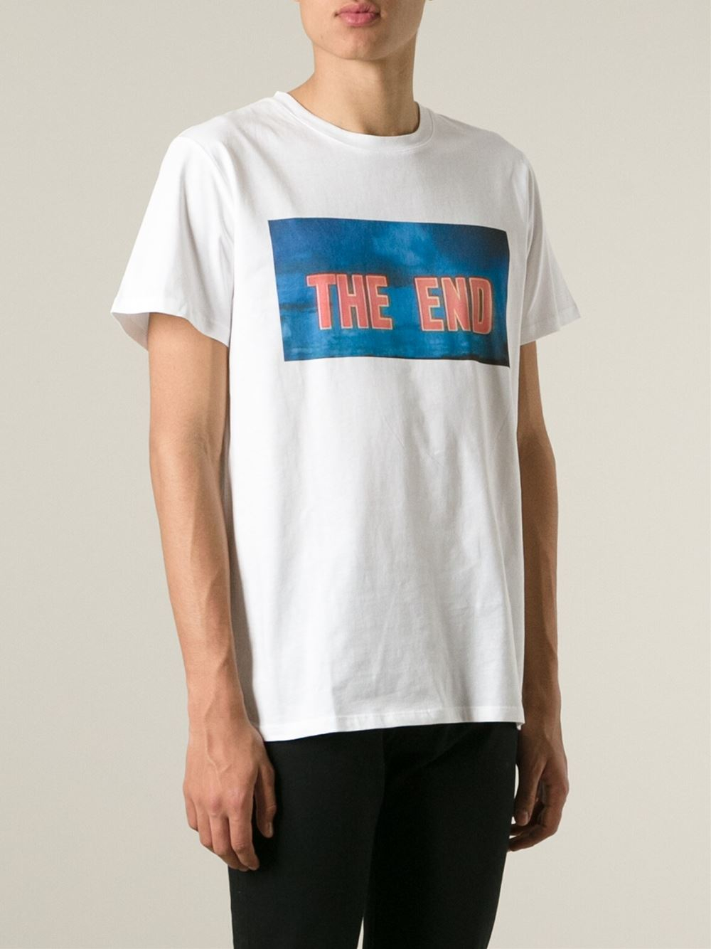 A p c the end print t shirt in white for men lyst for Apc white t shirt