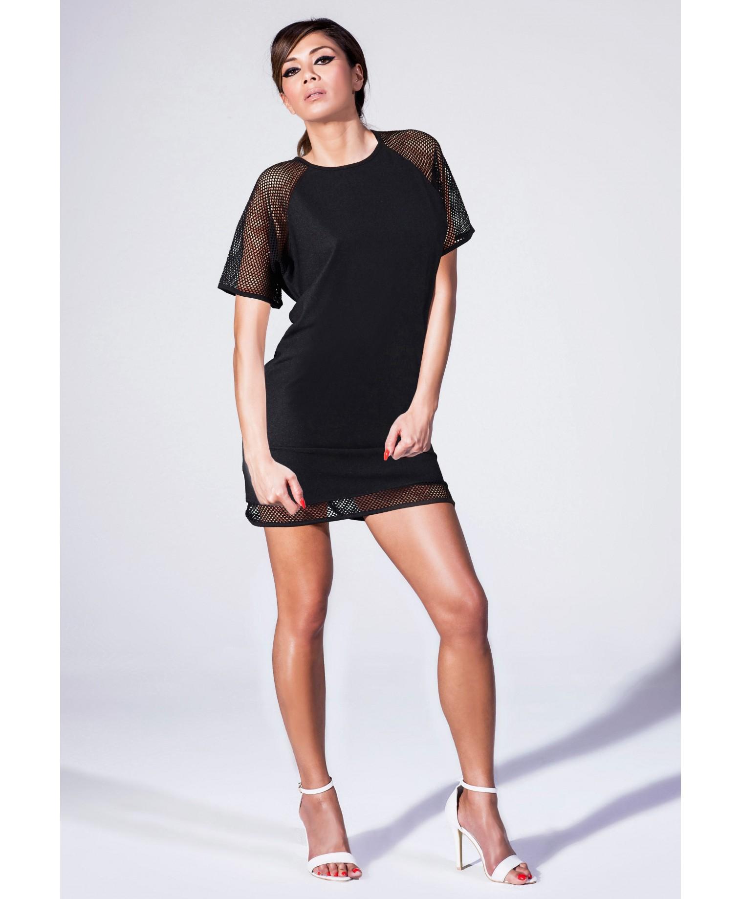 black fishnet t shirt dress