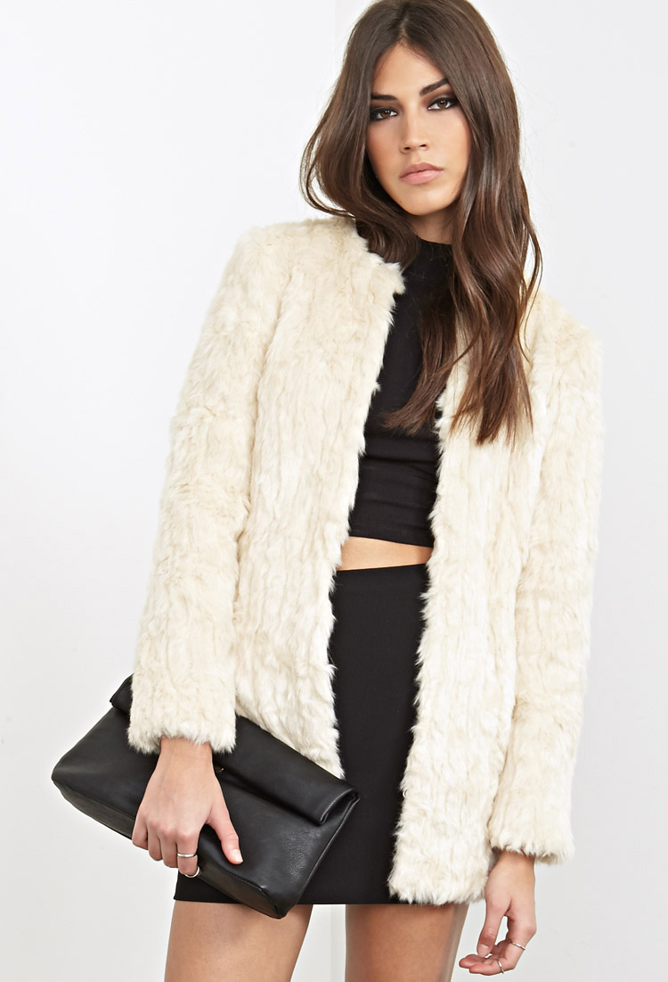 Forever 21 Collarless Faux Fur Jacket in Natural | Lyst