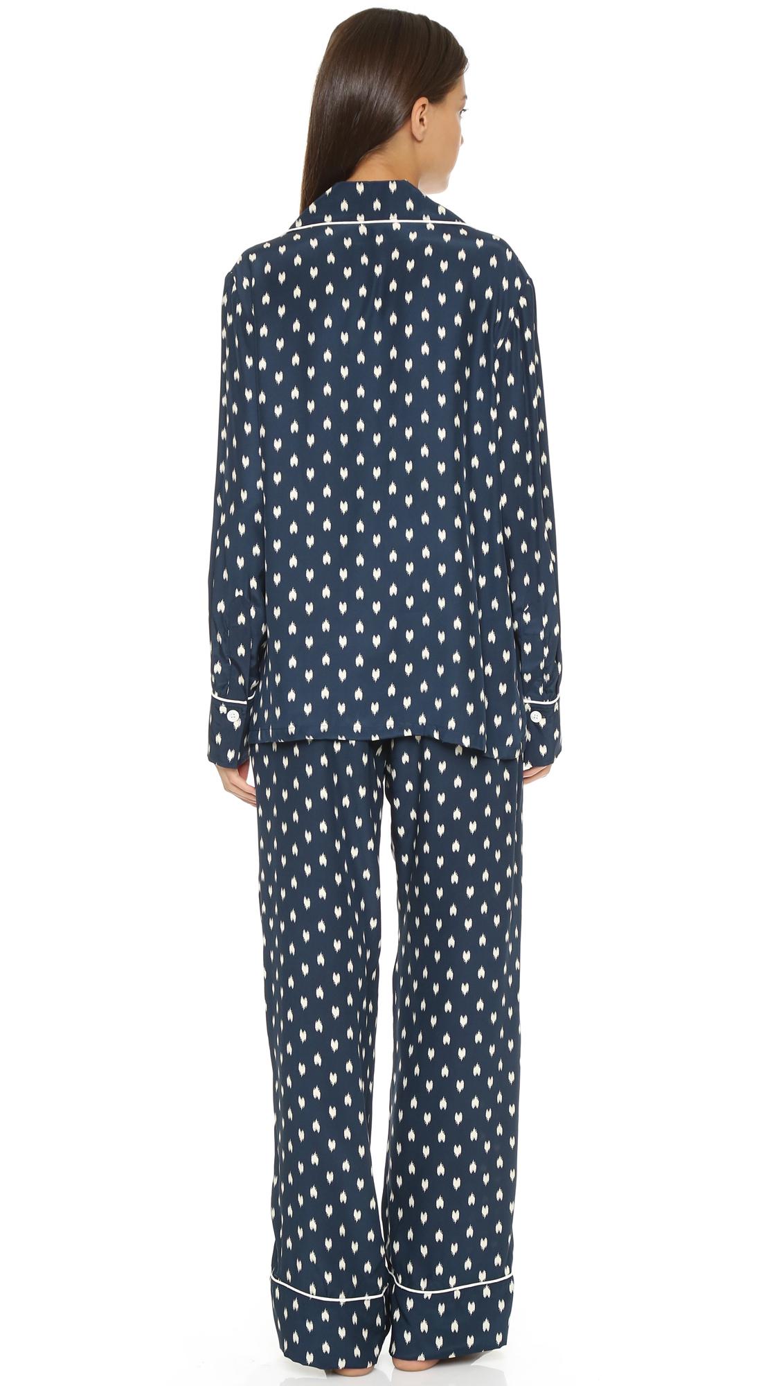 Three j nyc Coco Silk Pajama Set - Navy W/white Heart Ikat/trim in ...