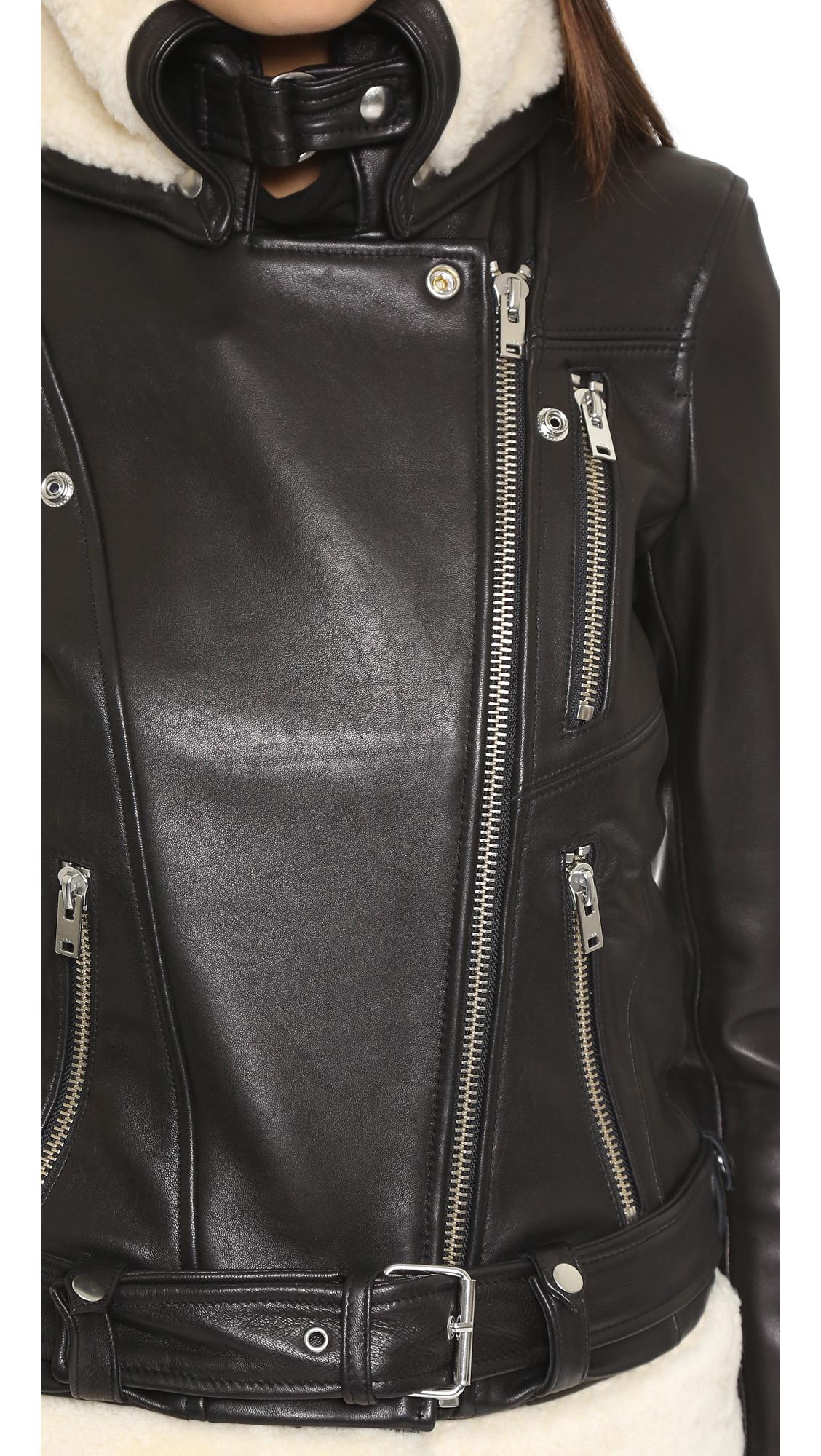 Iro Kolia Leather Moto Jacket Black White Lyst