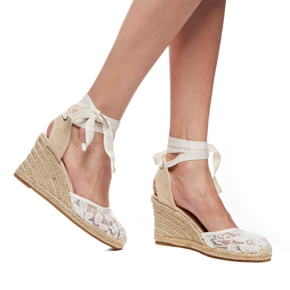 5545a790f4e5 Soludos Chantilly Lace Tall Wedge in Natural - Lyst