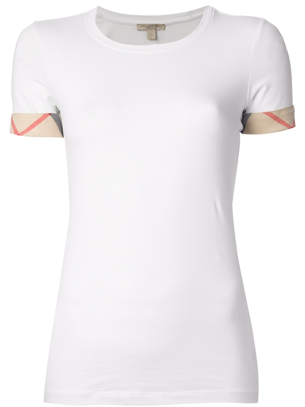 Lyst - Burberry Brit  house Check  Cuffs T-shirt in White 703b52af01