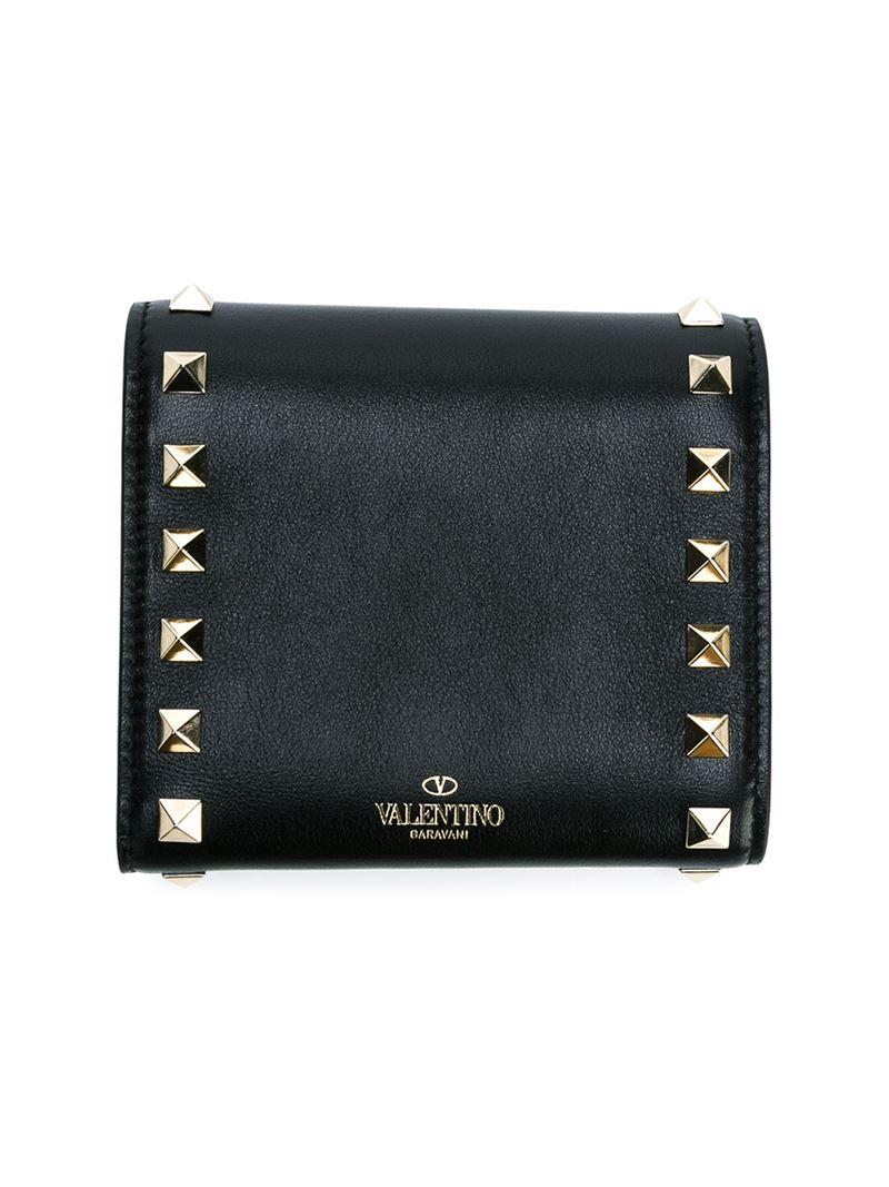 Valentino 'rockstud' Wallet in Black | Lyst