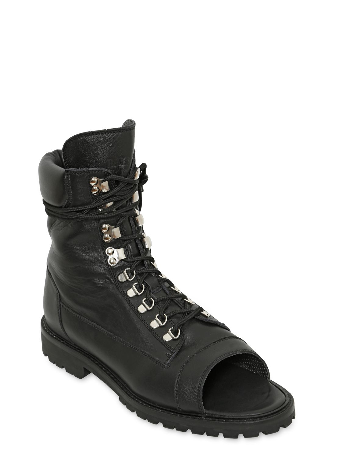 Balmain Open Toe Leather Combat Boots In Black Lyst