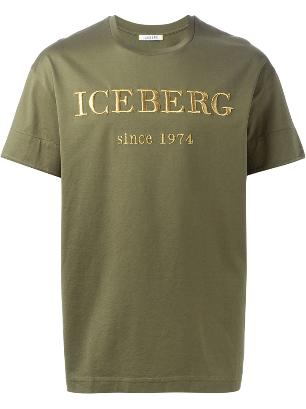 Iceberg embroidered logo t shirt in green for men lyst for T shirt with embroidered logo