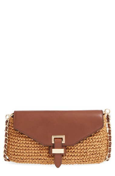 6a4cbbe46 ... 50% off lyst michael michael kors large naomi straw leather clutch in  b5a91 c3370 ...