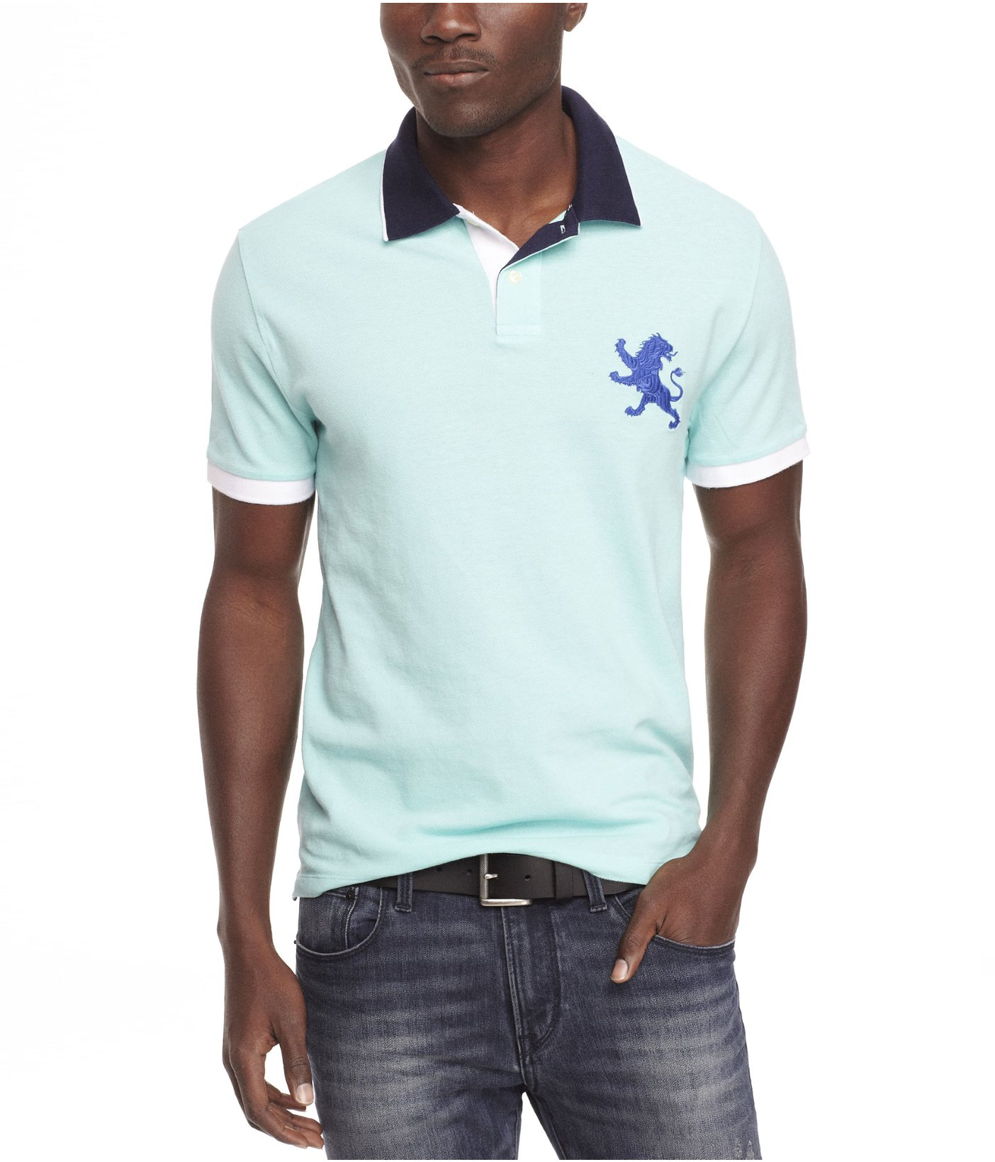 Lyst Express Color Tipped Large Lion Polo In Blue For Men
