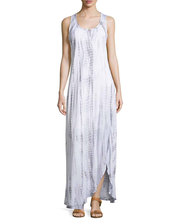 Lyst - Neiman Marcus Tie-dye Asymmetric-hem Maxi Dress in ...