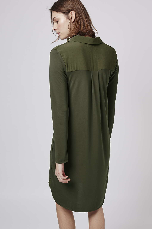 Topshop Tall Hybrid Shirt Dress In Green Khaki Lyst