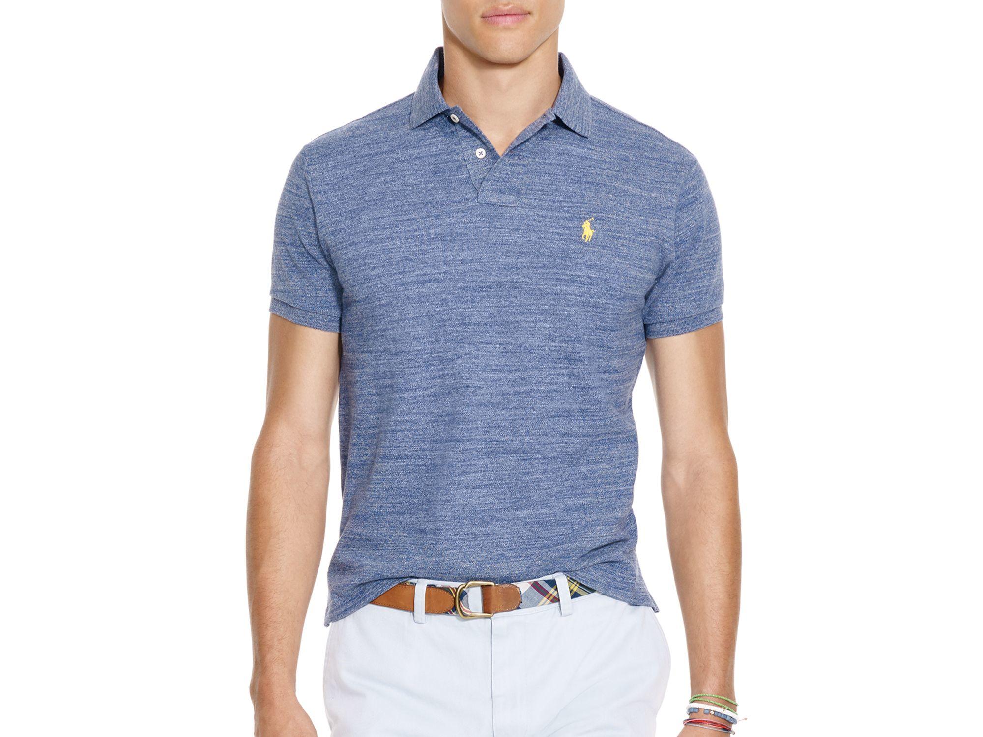 Mesh Ralph Fit Slim Blue Men Shirt Polo For Lauren XwPNZnOk80