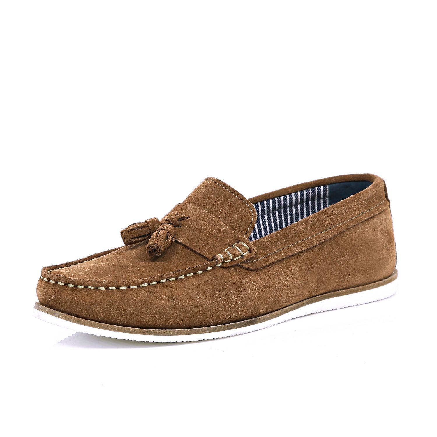 river island brown suede tassel boat shoes in brown for