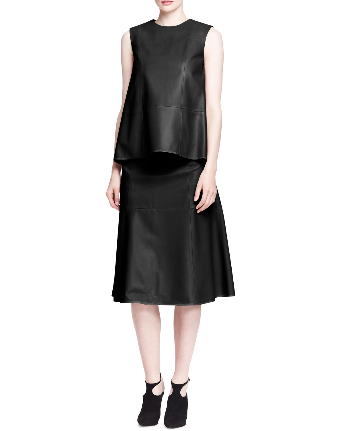 The row Rellin A-Line Leather Skirt in Black | Lyst