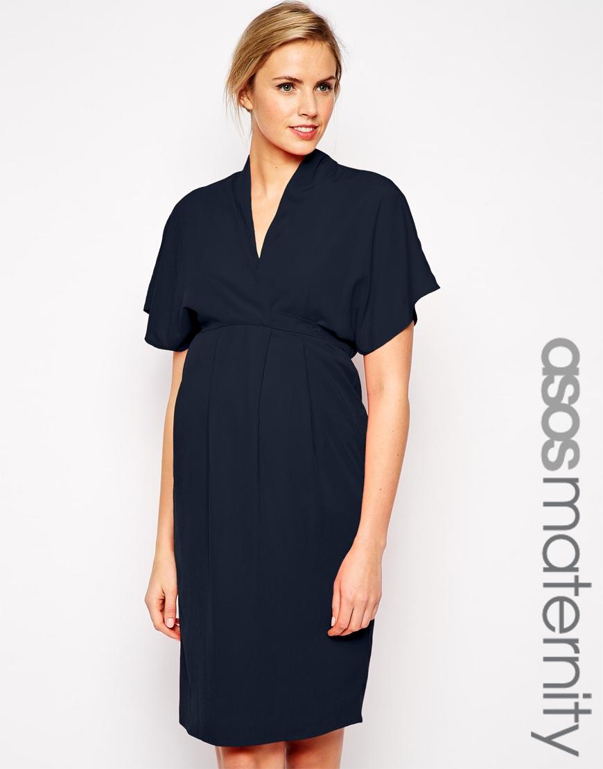 8513708dd0531 ASOS Maternity Work Wear Dress With Kimono Sleeve in Blue - Lyst