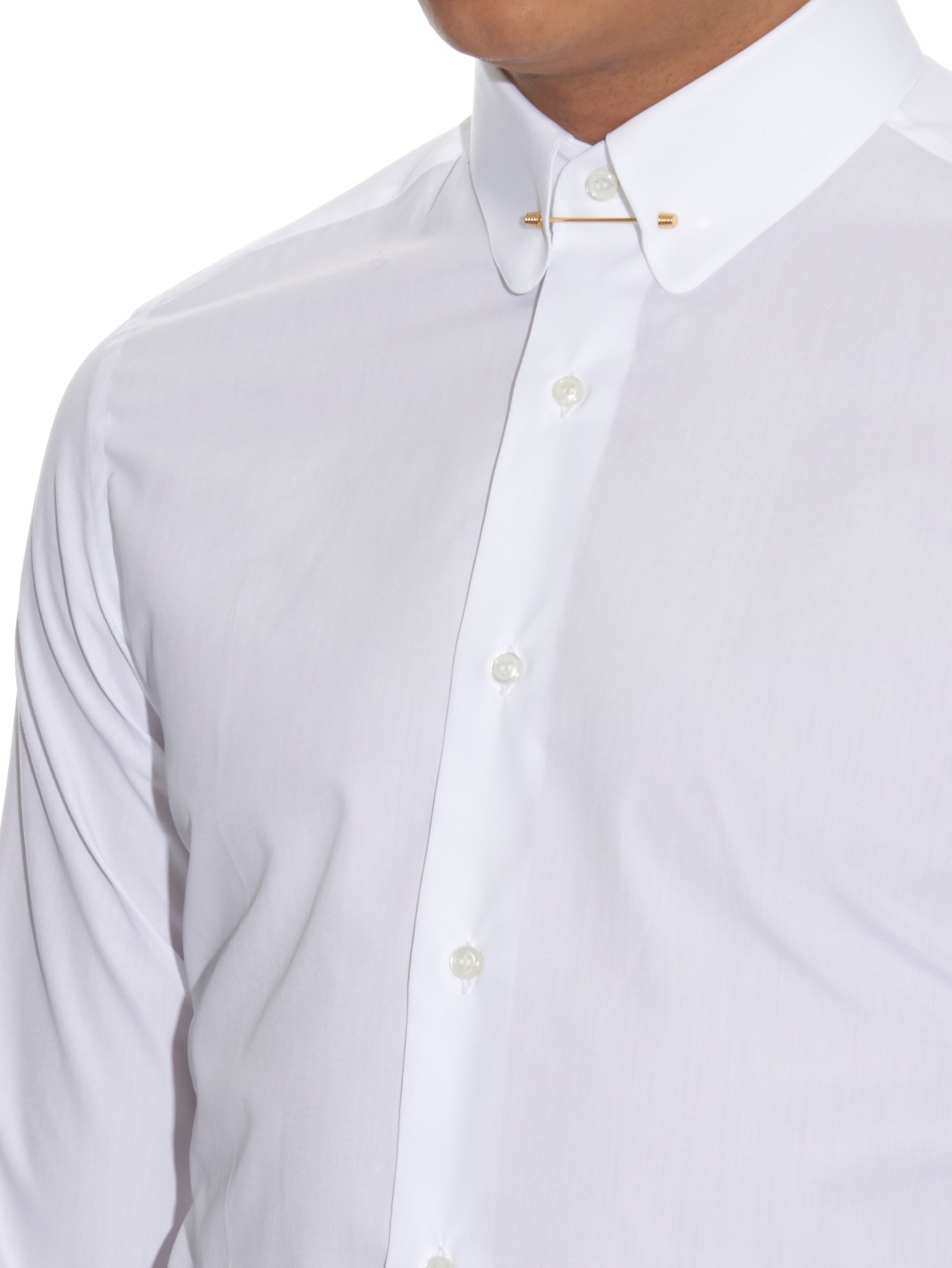 Lyst brioni pin collar slim fit cotton shirt in white for White shirt with collar pin