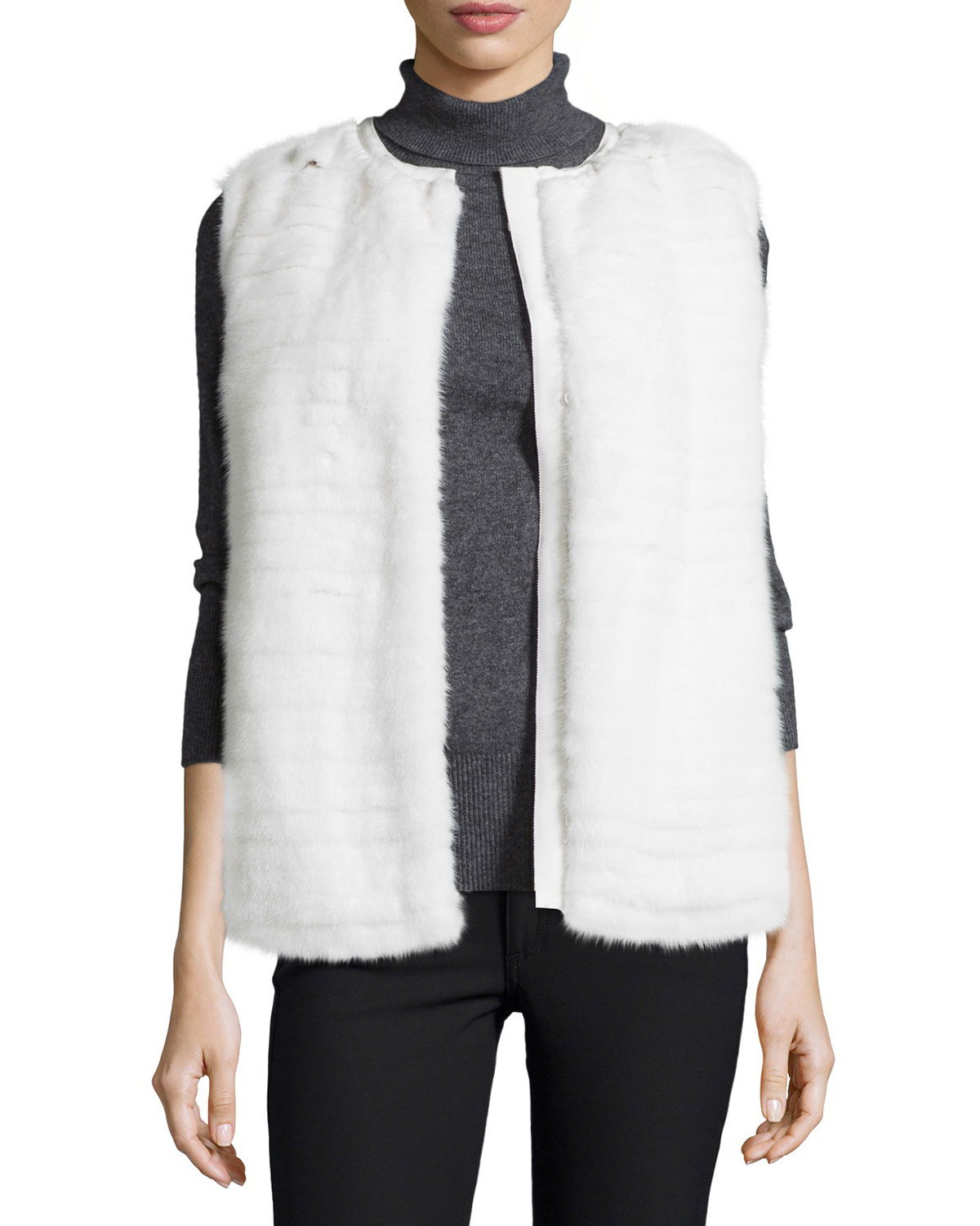 Lyst - Moncler Mink Fur Vest W quilted Back in White 9f269da61e65