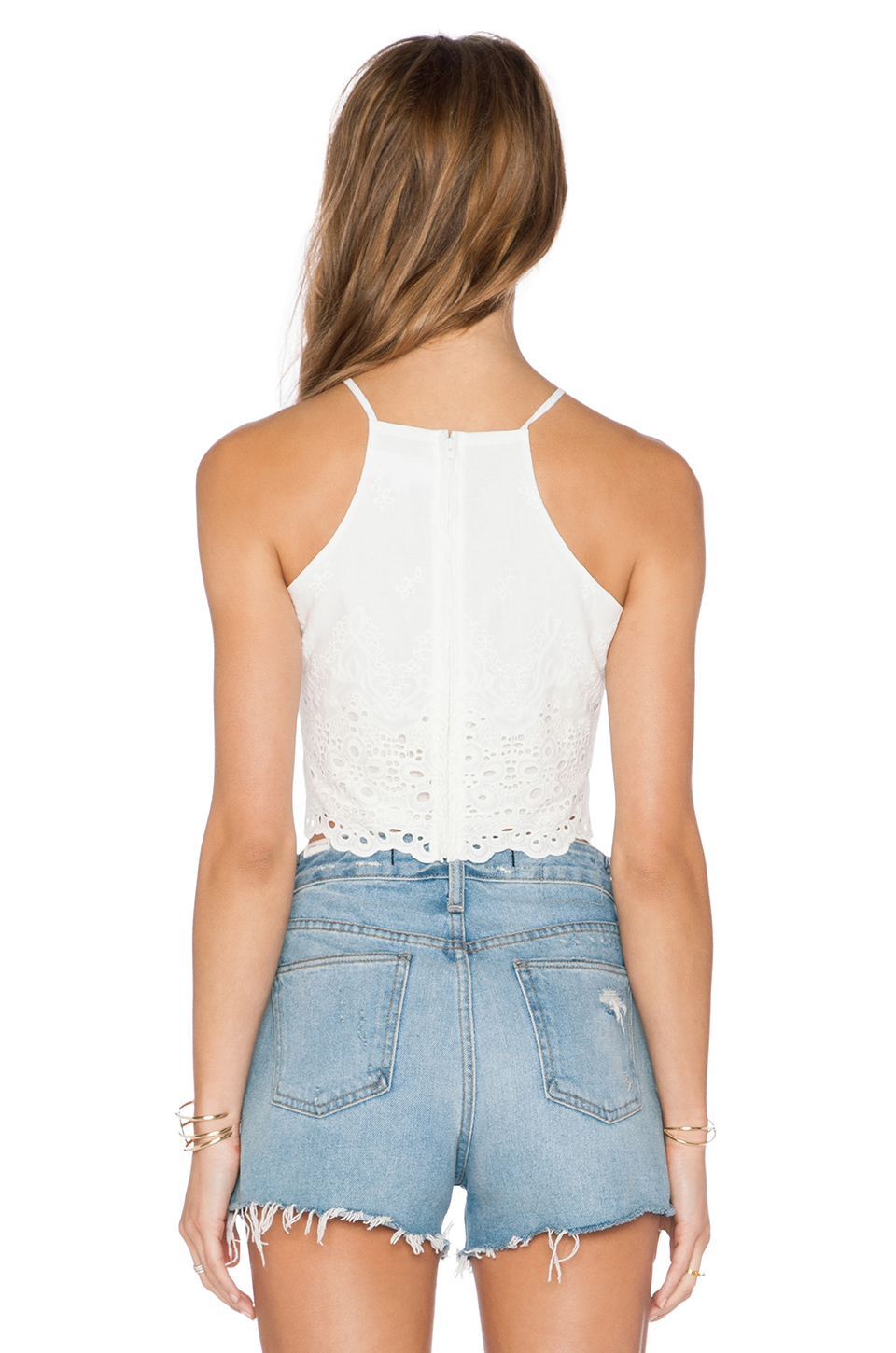 Lyst Lucca Couture Eyelet Crop Top In White