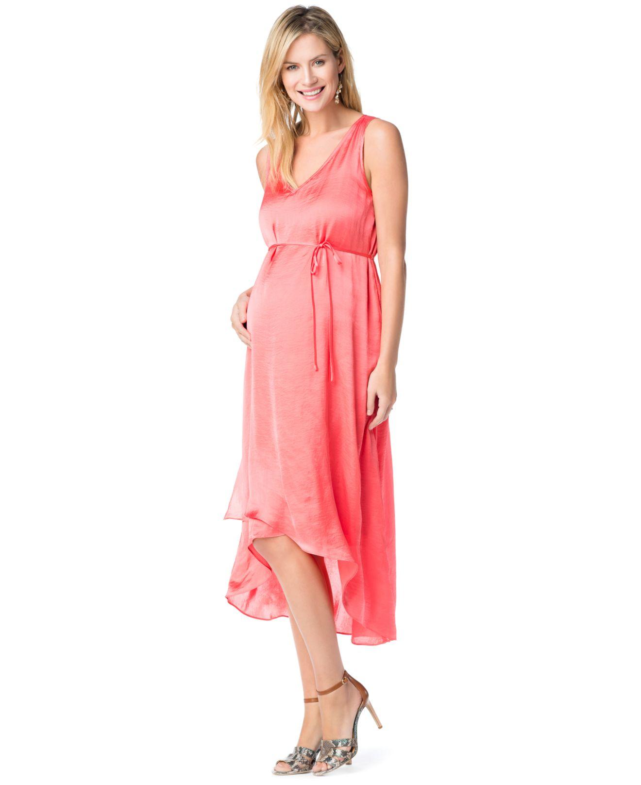 859982ae43b3 Jessica Simpson Maternity Sleeveless High-Low Maternity Maxi Dress ...