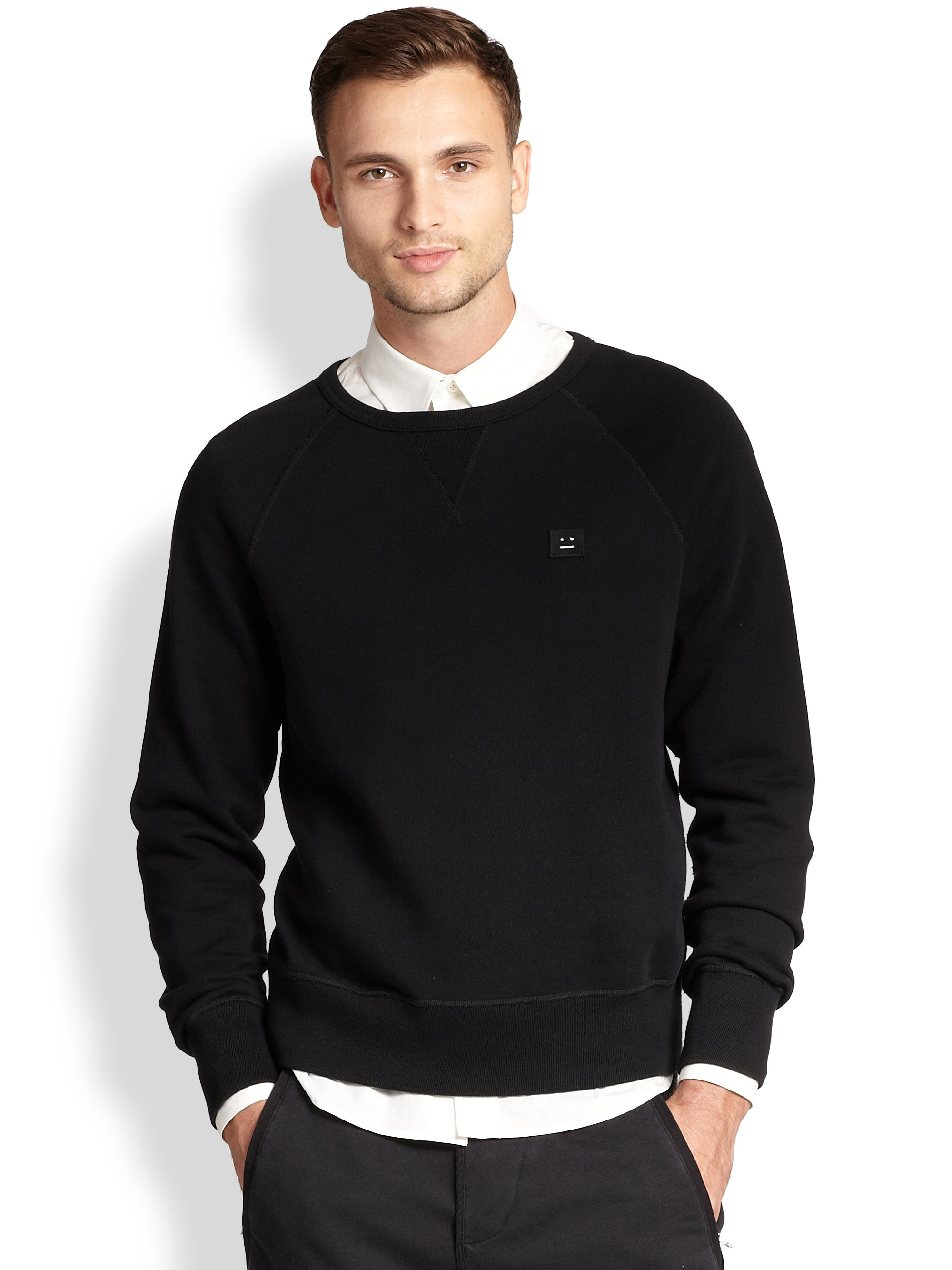 Acne studios Cotton Crewneck Sweatshirt in Black for Men | Lyst