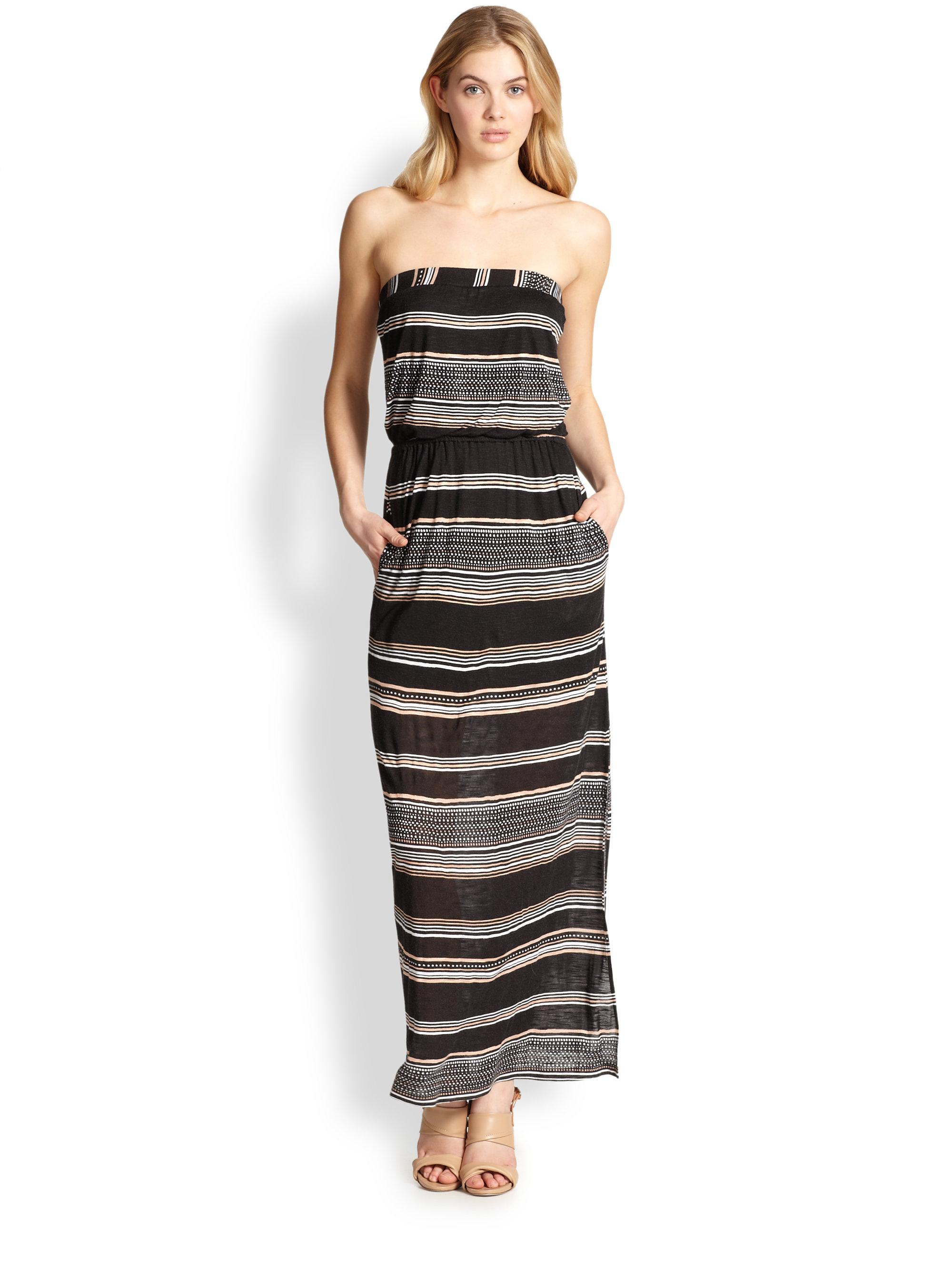 Splendid Strapless Striped Jersey Maxi Dress In Black Lyst