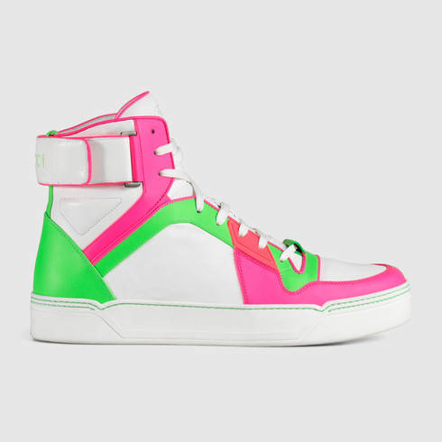 Leather High Top Neon Neon Leather High Sneaker v8wn0mN