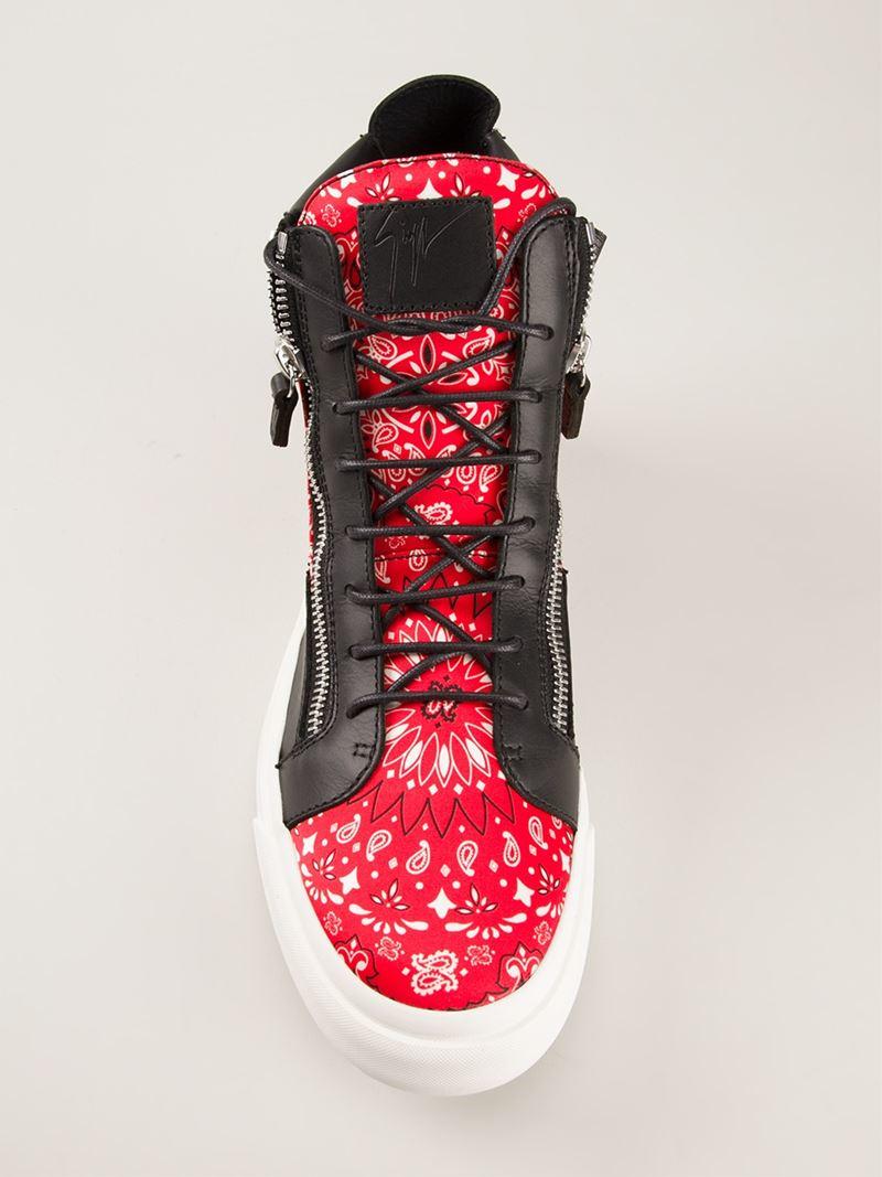 Giuseppe Zanotti Paisley Print Hi-top Sneakers in Black (Pink) for Men
