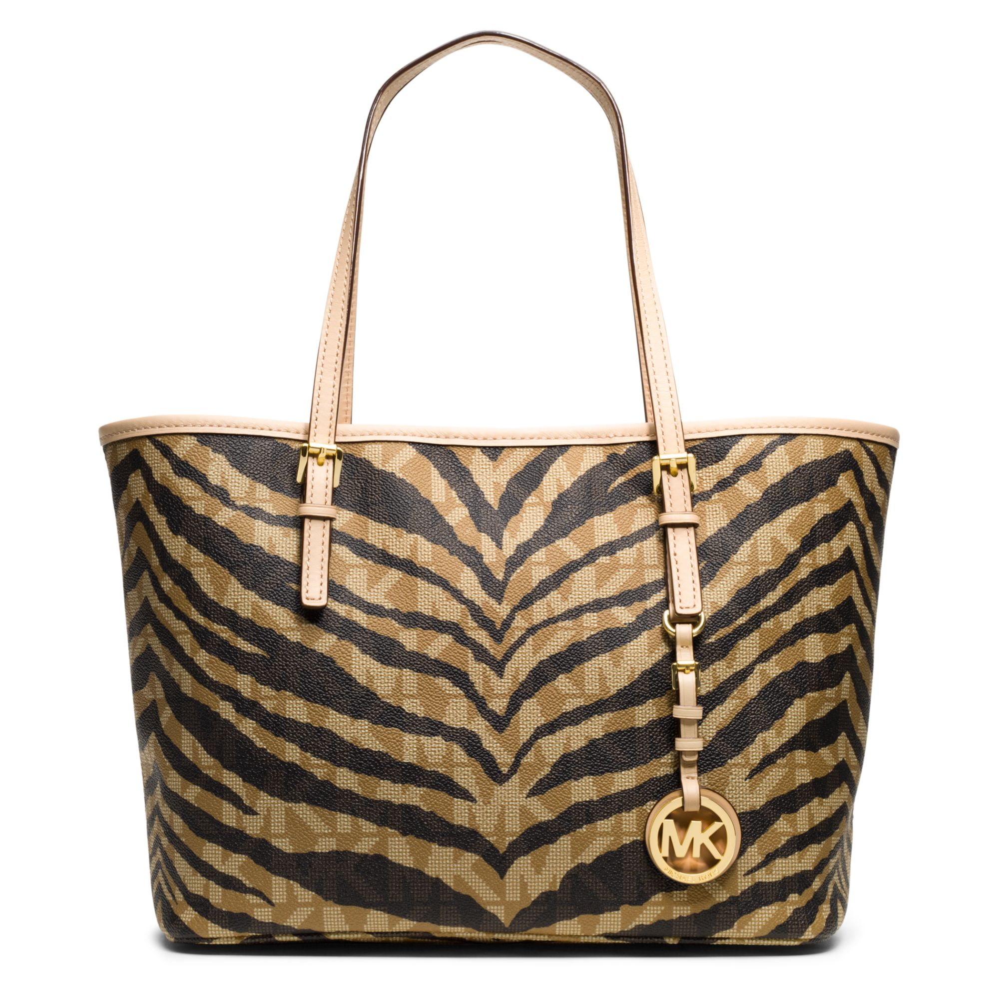 michael kors michael jet set small travel tote in brown lyst. Black Bedroom Furniture Sets. Home Design Ideas
