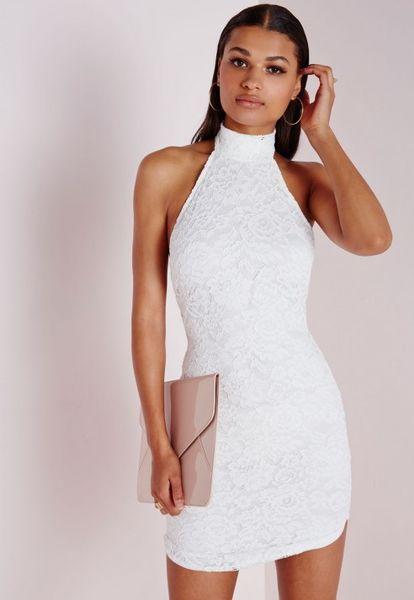 Missguided Lace High Neck Curve Hem Bodycon Dress White in ...