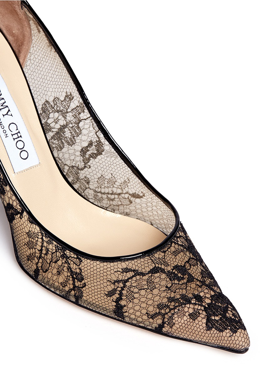 b21f088bed5 ... get lyst jimmy choo agnes floral lace pumps in black 85003 bb007