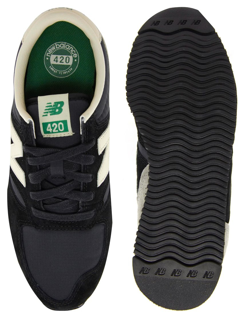 New Balance 420 Black and Grey Suede Trainers - Lyst