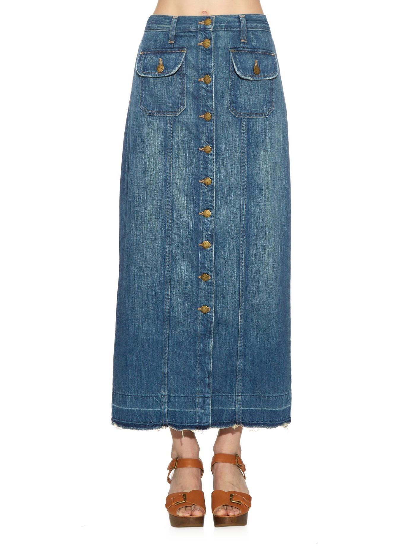 current elliott the sally denim maxi skirt in blue lyst