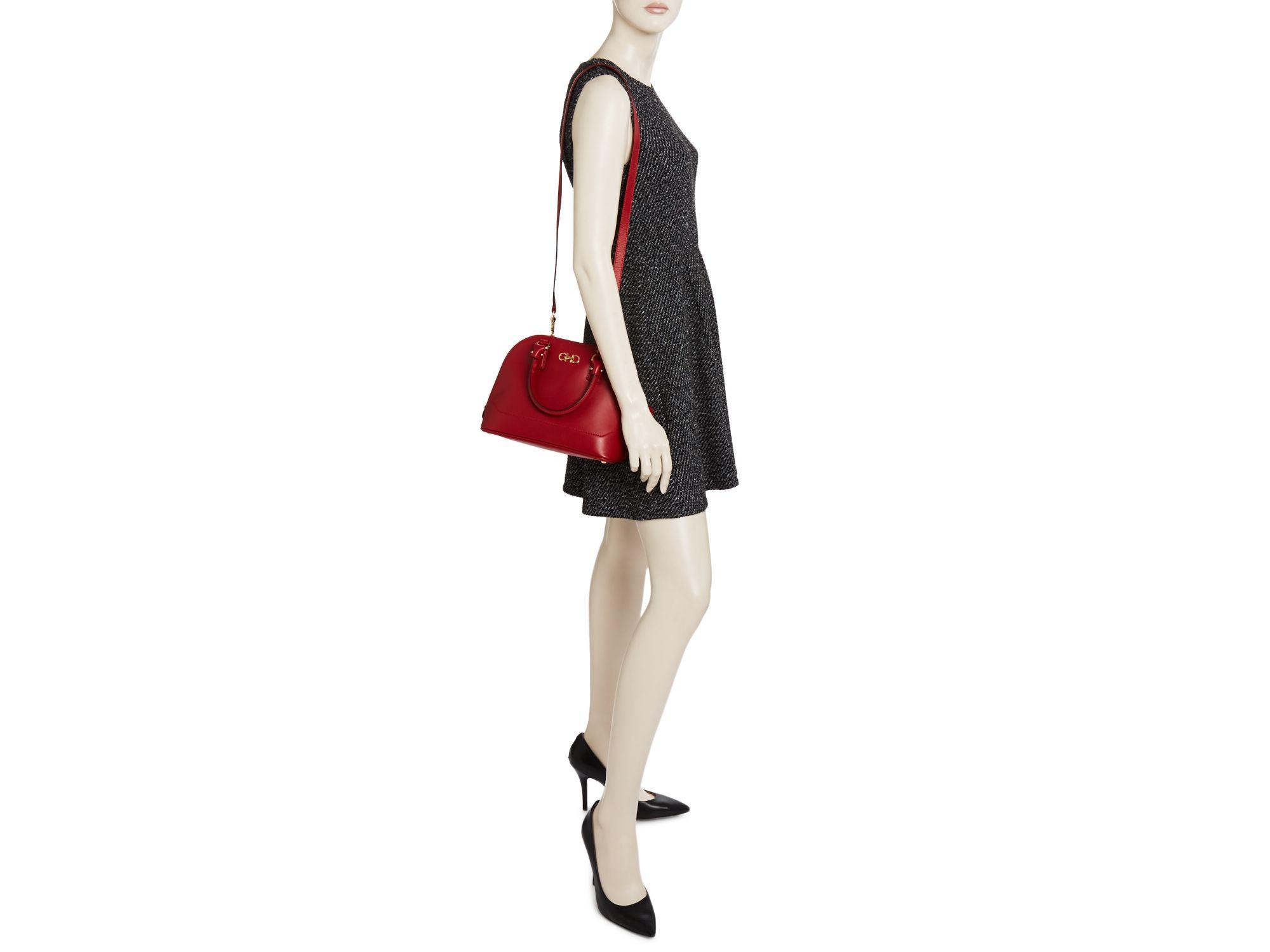 Ferragamo Leather Crossbody - Darina Mini Dome Satchel in Red