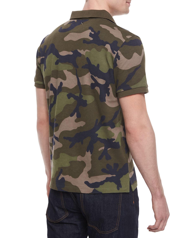 Lyst valentino camo print pique polo shirt in green for men for Green camo shirt outfit