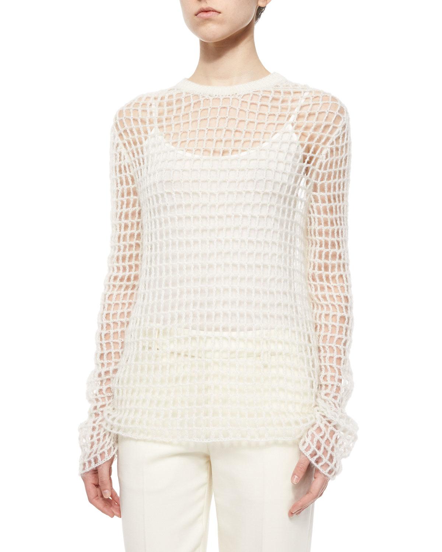bfc0b4a0b0887 Lyst - Helmut Lang Hand-knit Open Crochet Sweater in White