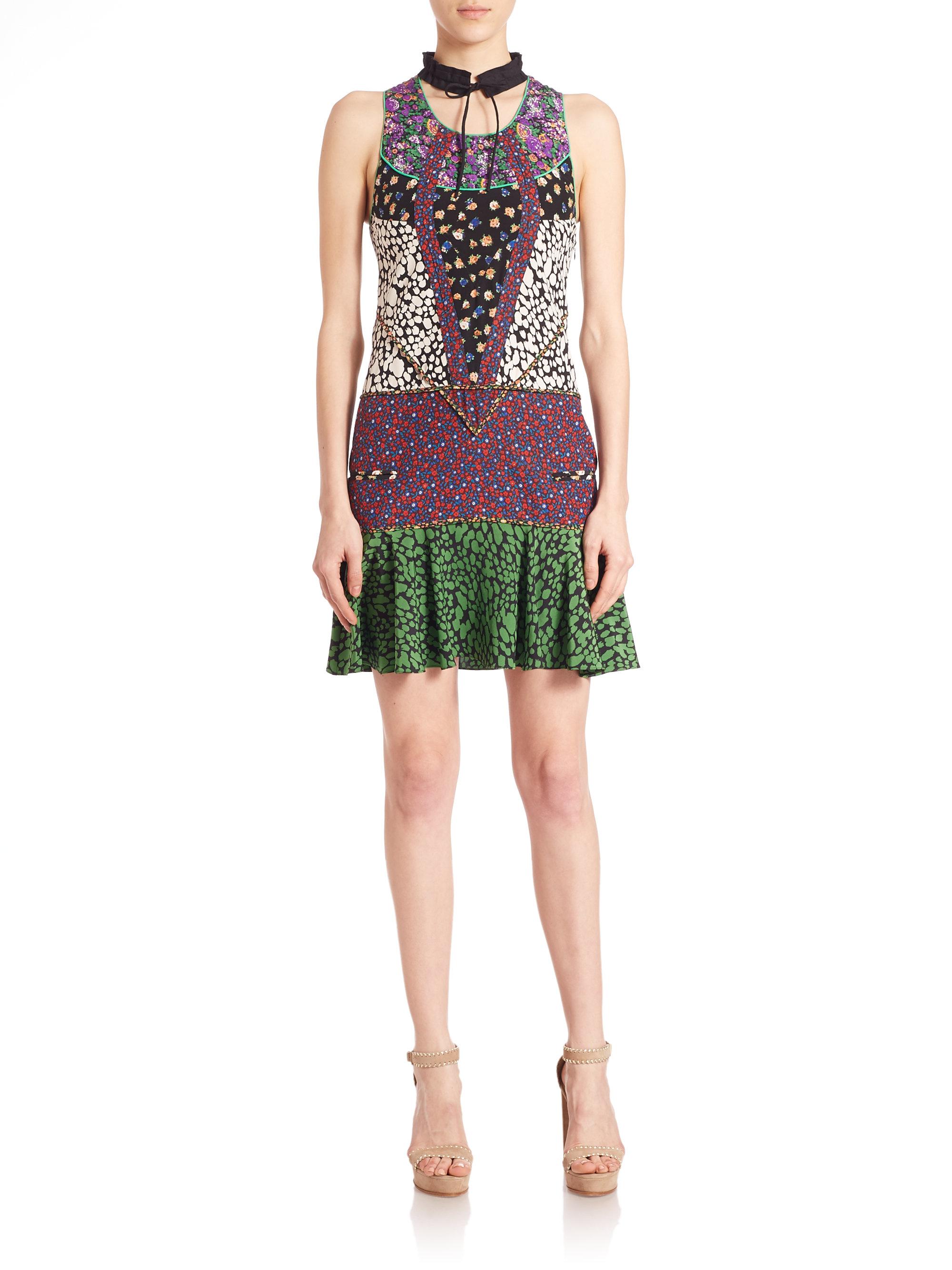 Lyst Coach Patchwork Floral Silk Dress