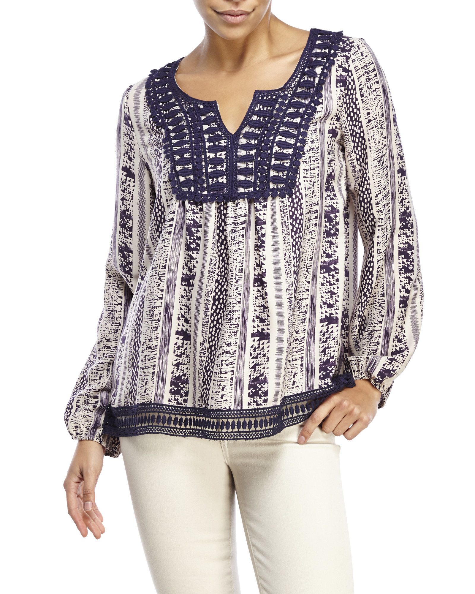 ce219ce17538f Lyst - Andree Split V-Neck Crochet Trim Peasant Blouse in Purple