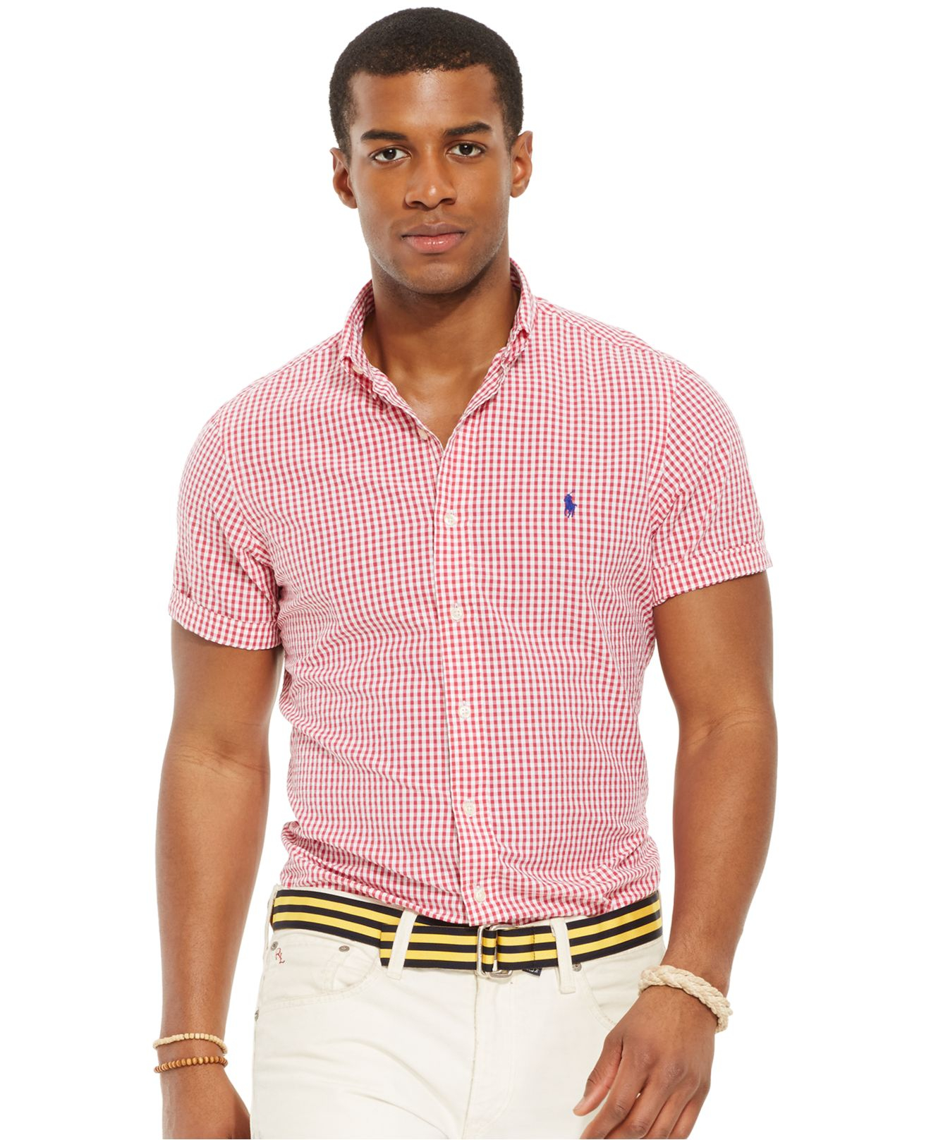 Polo ralph lauren check seersucker shirt in red for men Man in polo shirt