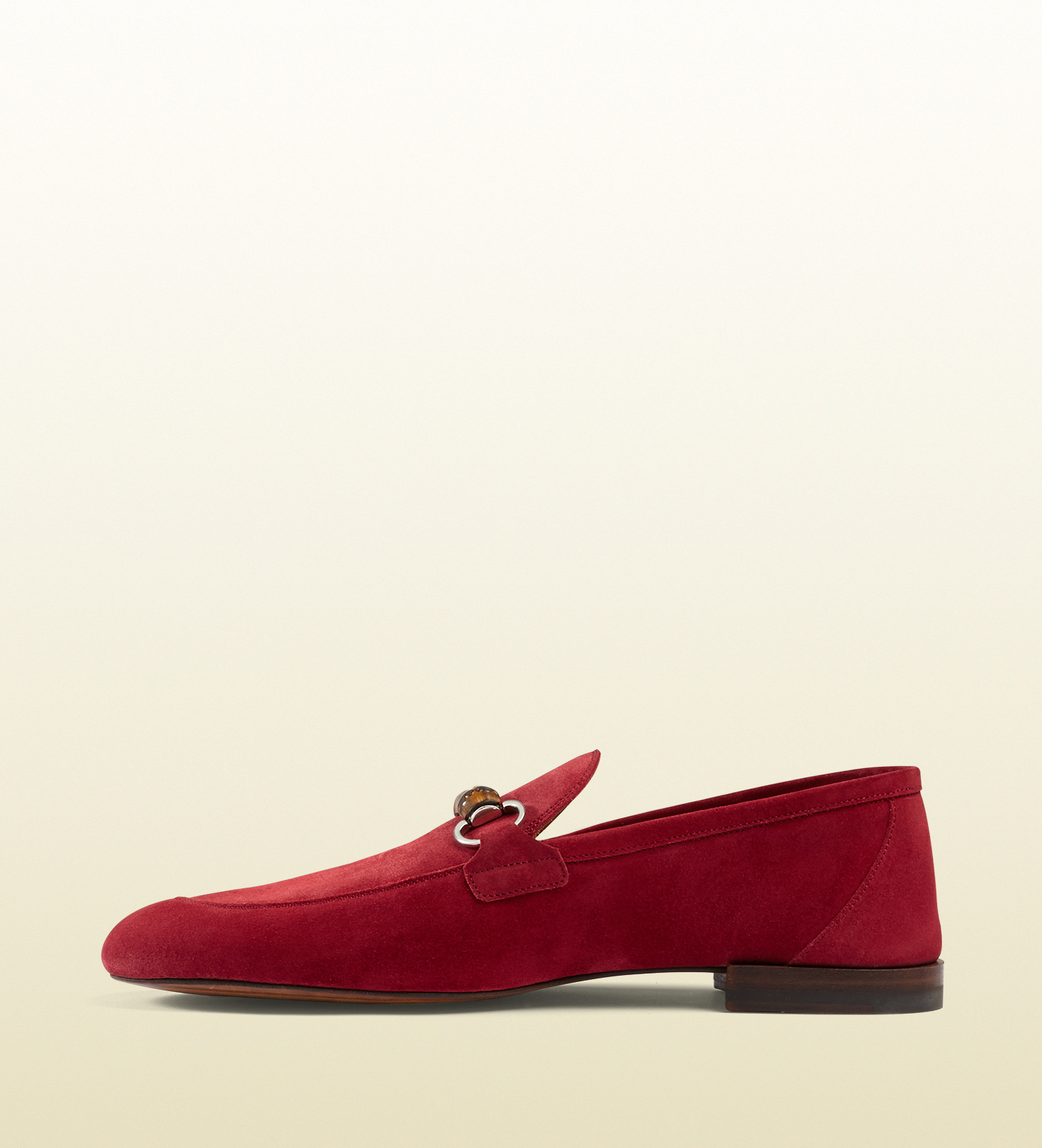 5fa343ecd240d Lyst - Gucci Suede Bamboo Horsebit Loafer in Red for Men