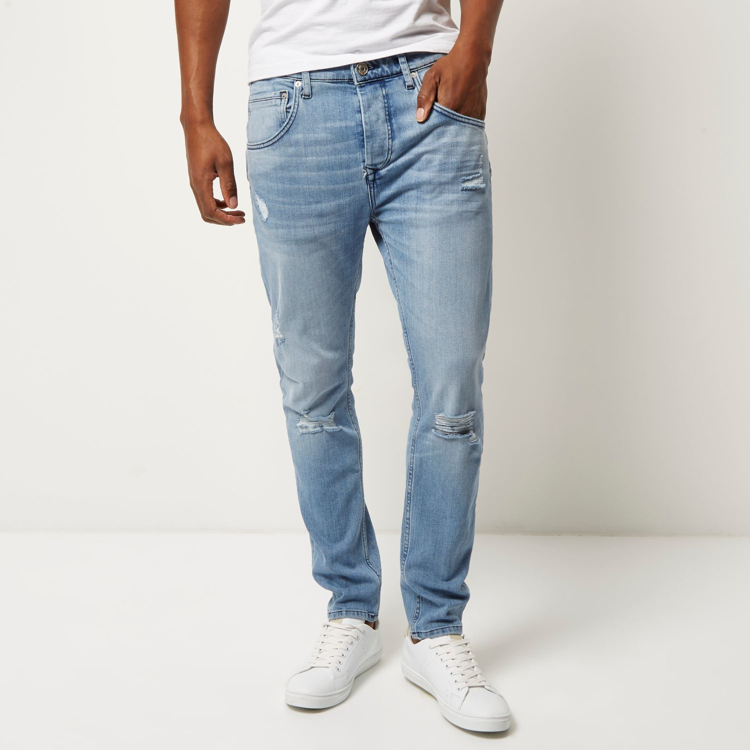 lyst river island light blue wash ripped chester tapered jeans in blue for men. Black Bedroom Furniture Sets. Home Design Ideas
