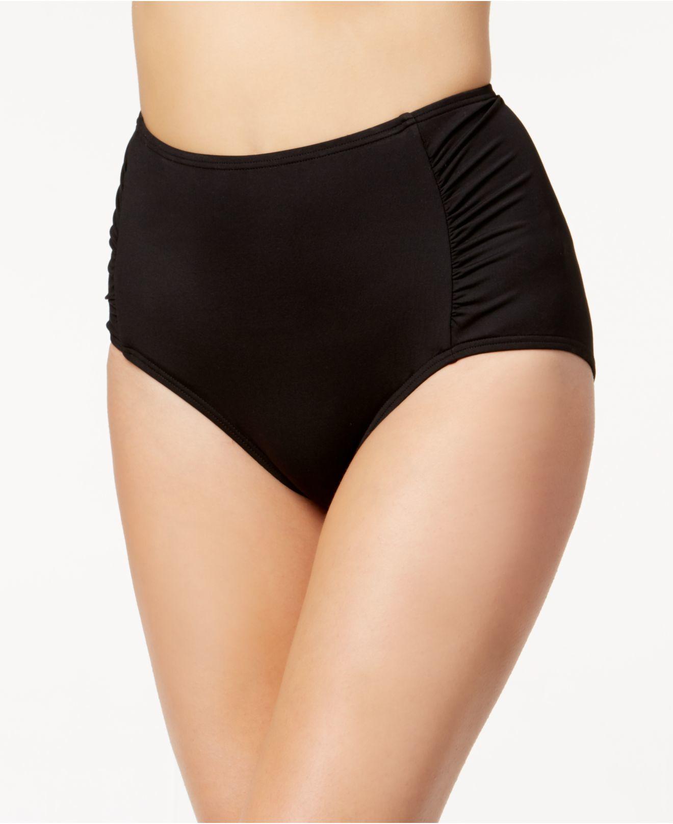 betsey johnson high waist ruched panel swim bottom in black lyst. Black Bedroom Furniture Sets. Home Design Ideas