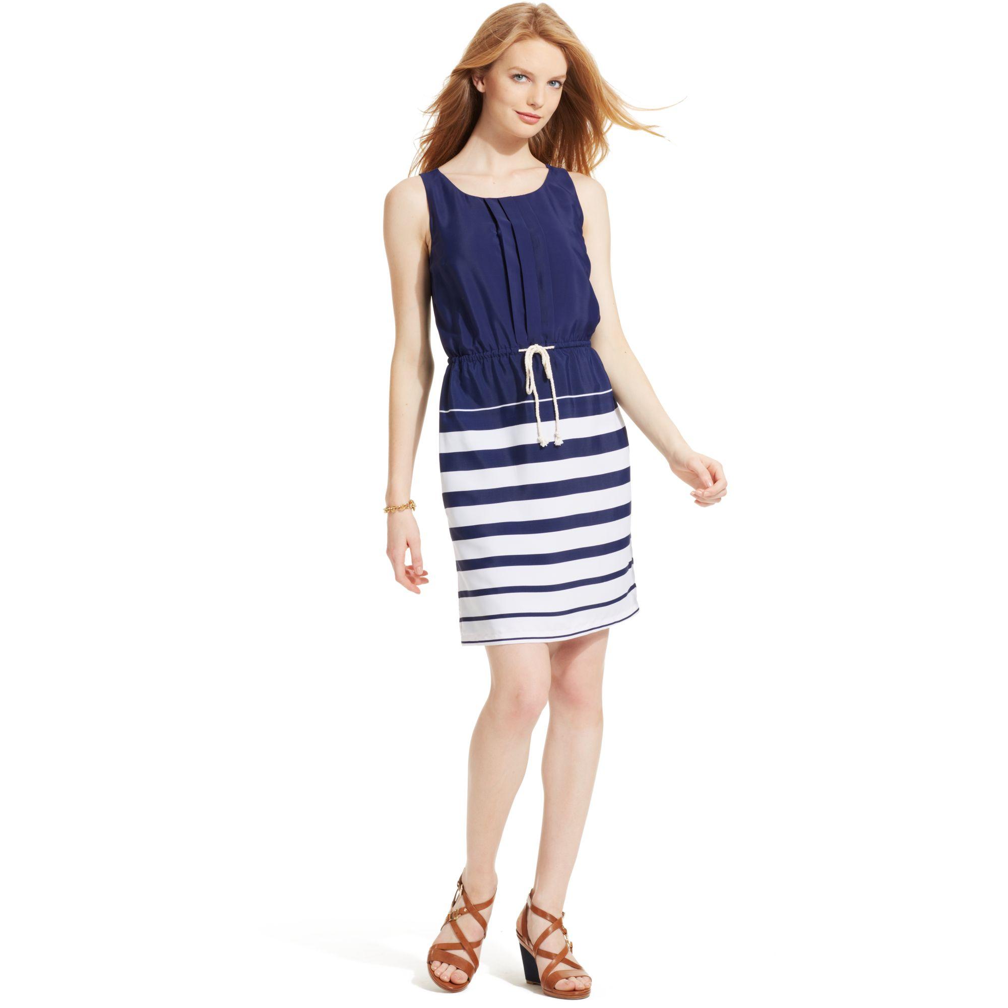 Lyst - Tommy Hilfiger Sleeveless Striped Dress in Blue