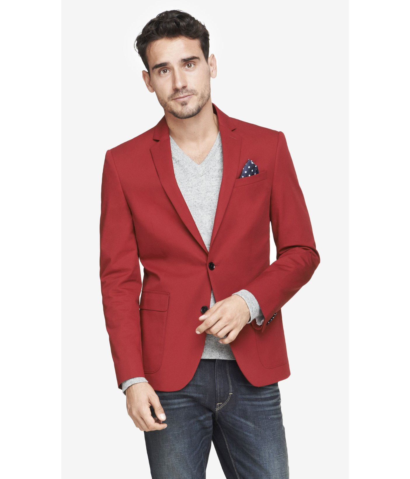 Express Slim Photographer Twill Red Blazer In Red For Men