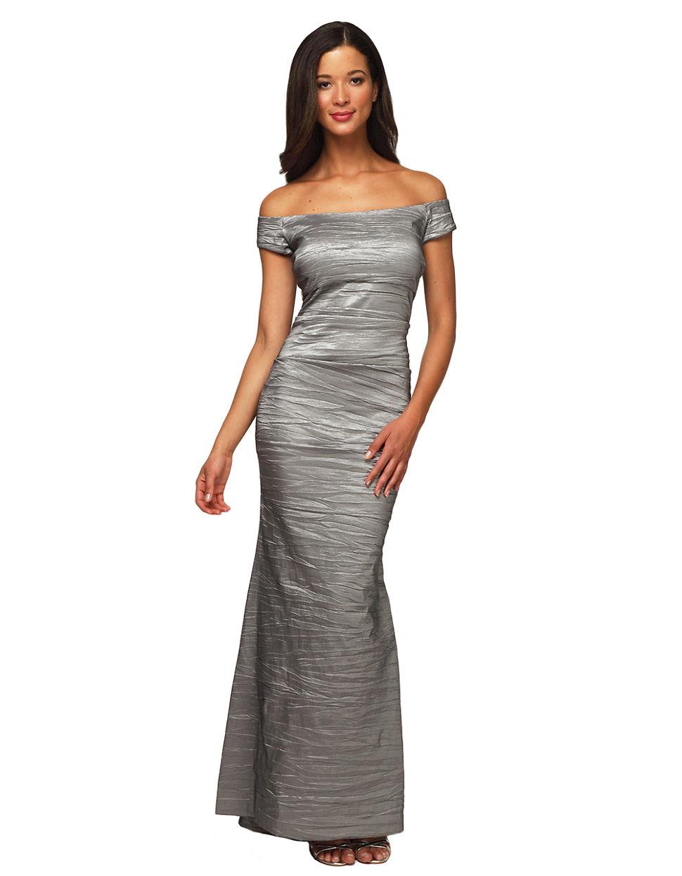 Lyst - Alex Evenings Long Off The Shoulder Stretch Taffeta Dress in Gray